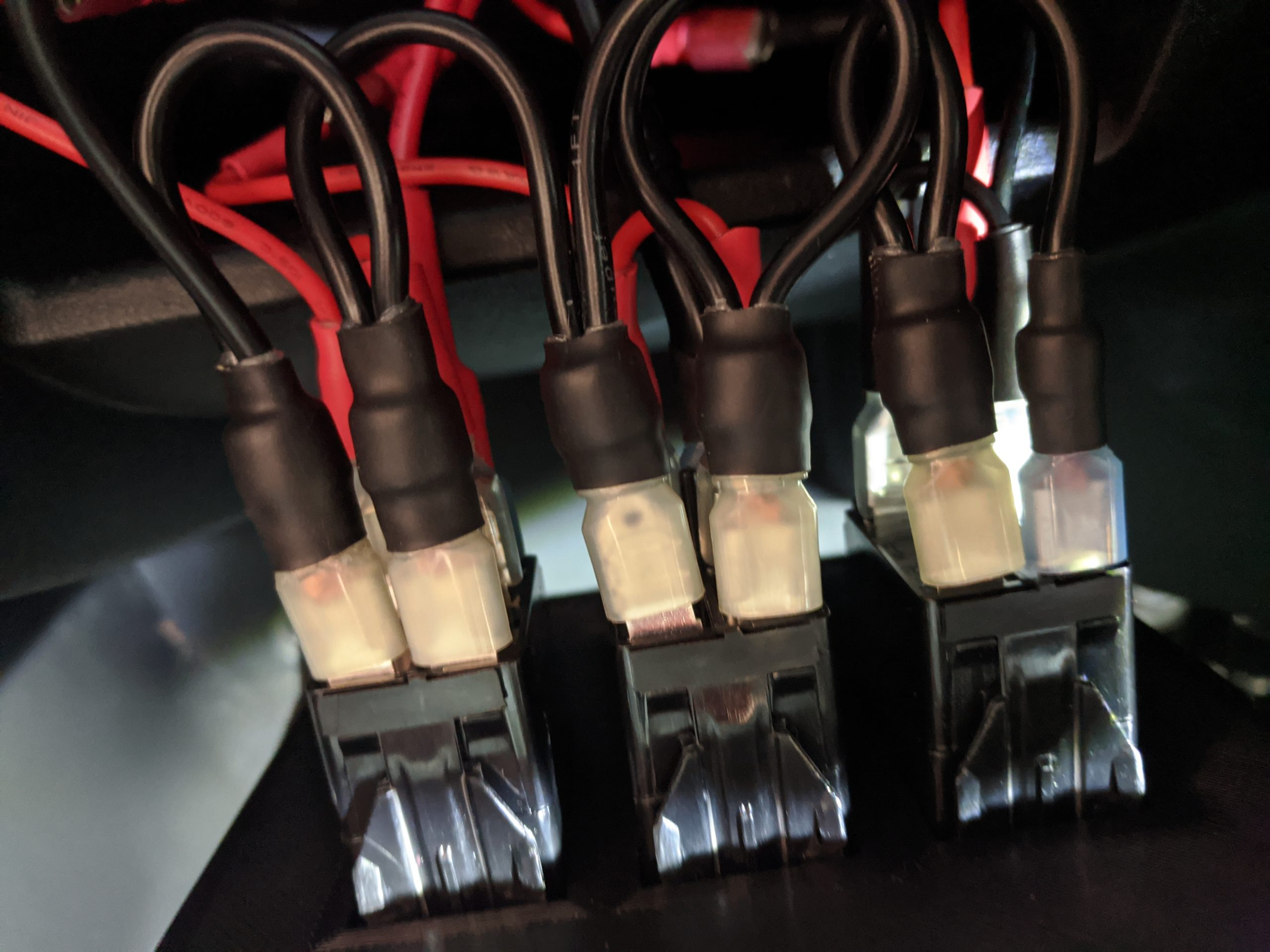 Grounds and power all hooked up for testing the LED's